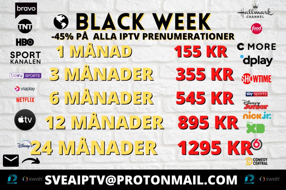 IPTV MEGA BLACK WEEK KAMPANJ -50% ALLA VÄRLDSKANALER