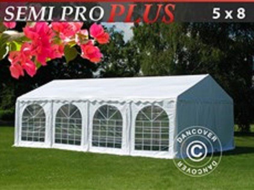 Partytält Semi PRO Plus 5 x 8 m PVC Vit