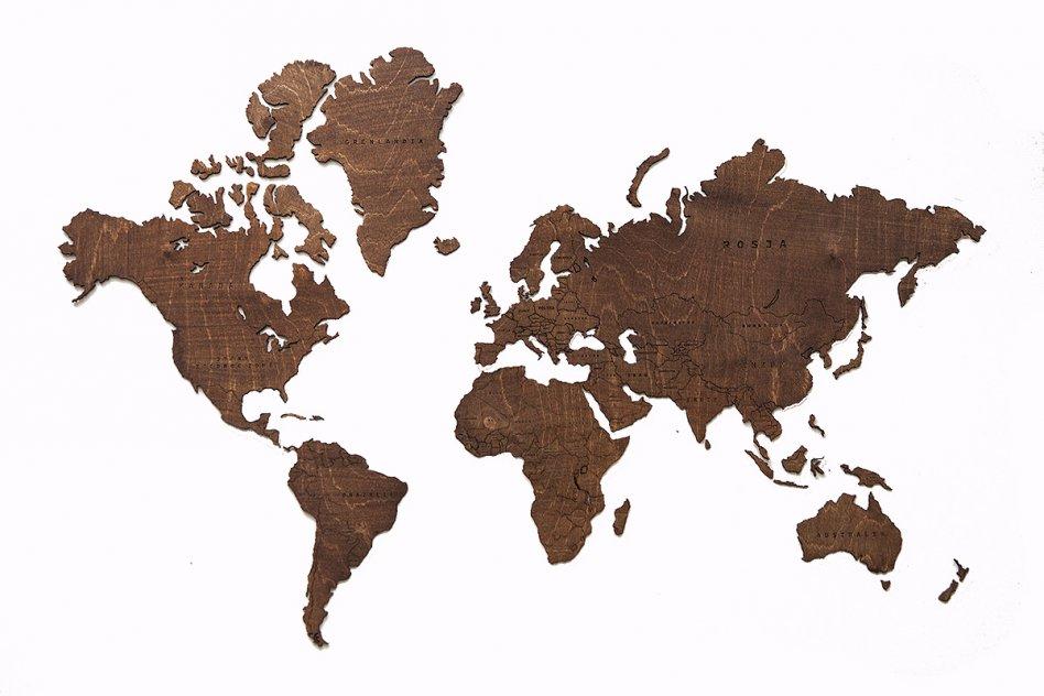 Världskarta i trä.