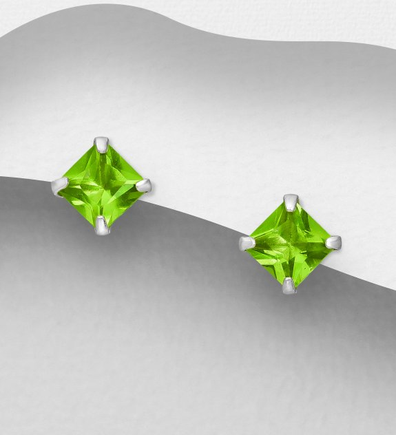 Silver Push-Back örhängen med CZ-Diamant