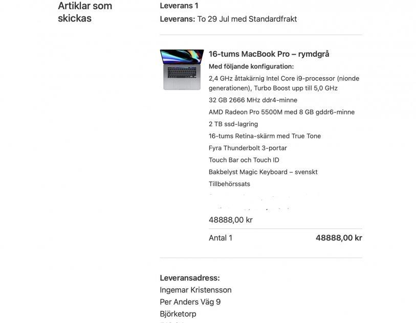 16 tums MacBook Pro - rymdgrå